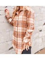 Plaid Flannel Shacket Jacket, Khaki