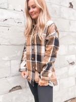 Plaid Flannel Shacket Jacket, Brown