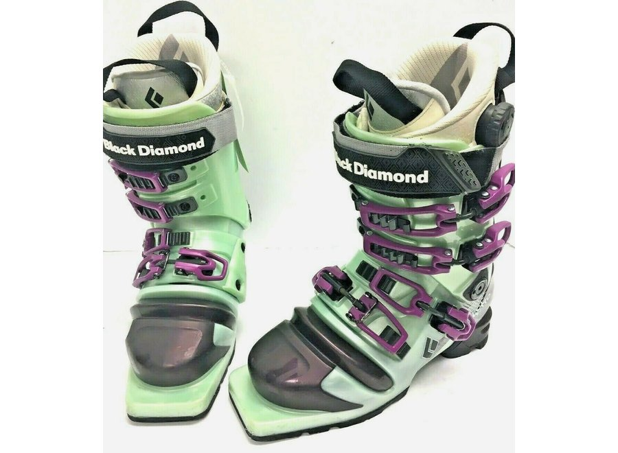 Black Diamond Women's Stiletto Telemark Boot 23.5 Mistgreen/Purple Clearance