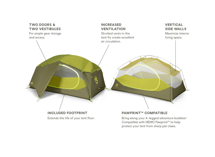 Nemo Equipment Aurora 2P Backpacking Tent & Footprint