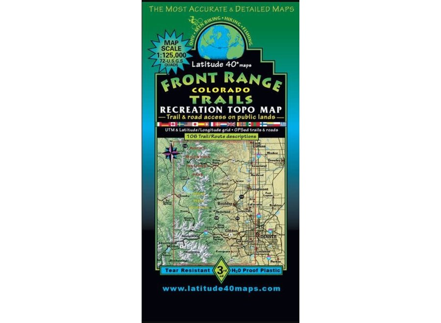 Latitude 40 Front Range Trails Map 3rd Edition