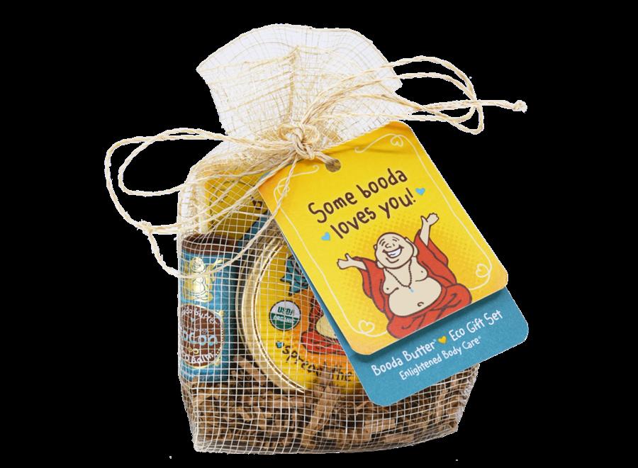 Booda Butter Eco Gift Bag: Daily Moisturizer Tin / Suds of Love Soap / Cocoa Eco Balm