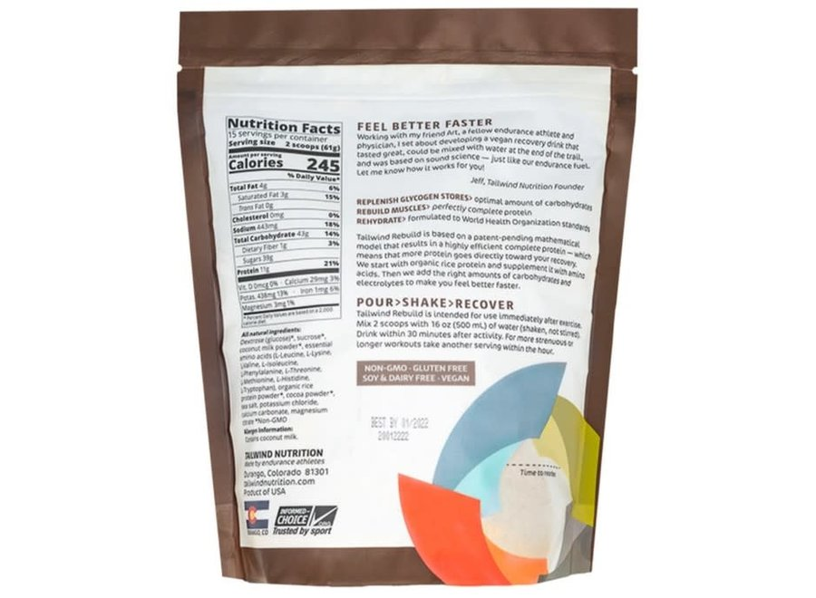 Tailwind Nutrition Rebuild 15 Serv Chocolate