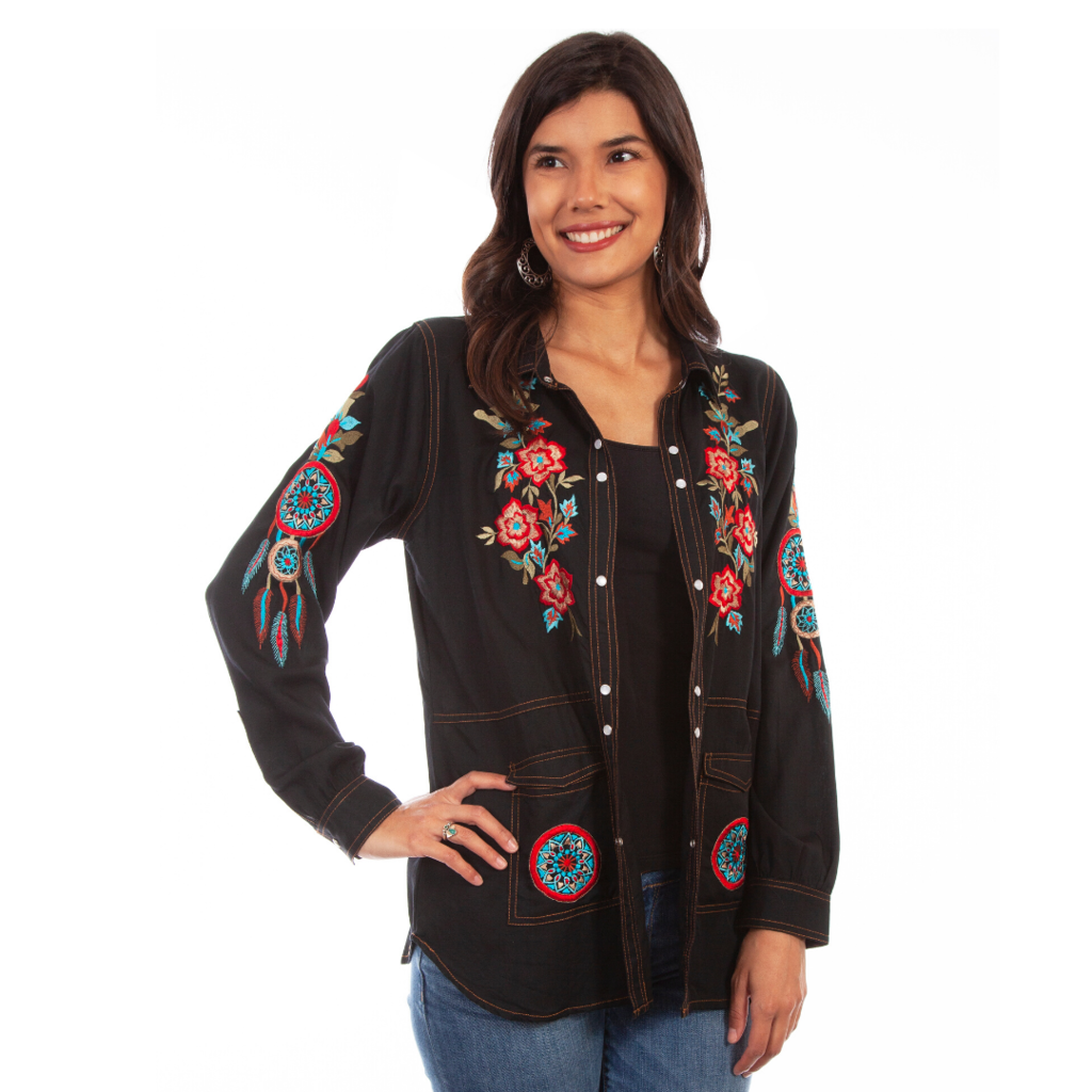 Embroidered Shirt Jacket