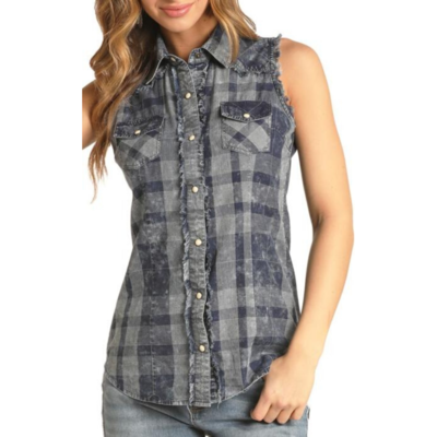 Rock and Roll | Sleeveless Plaid Denim Top
