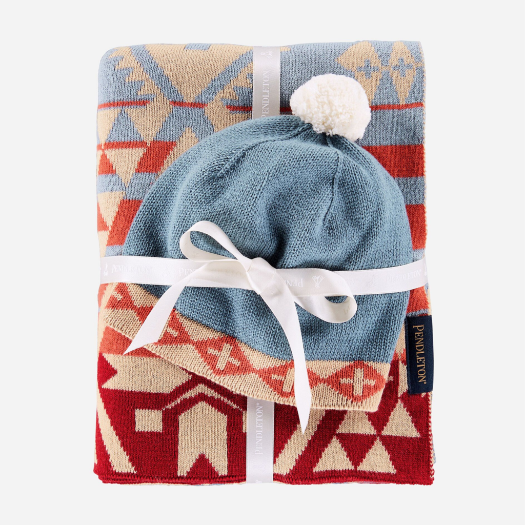 Pendleton Knit Baby Blanket with Beanie in Canyonlands Desert Sky
