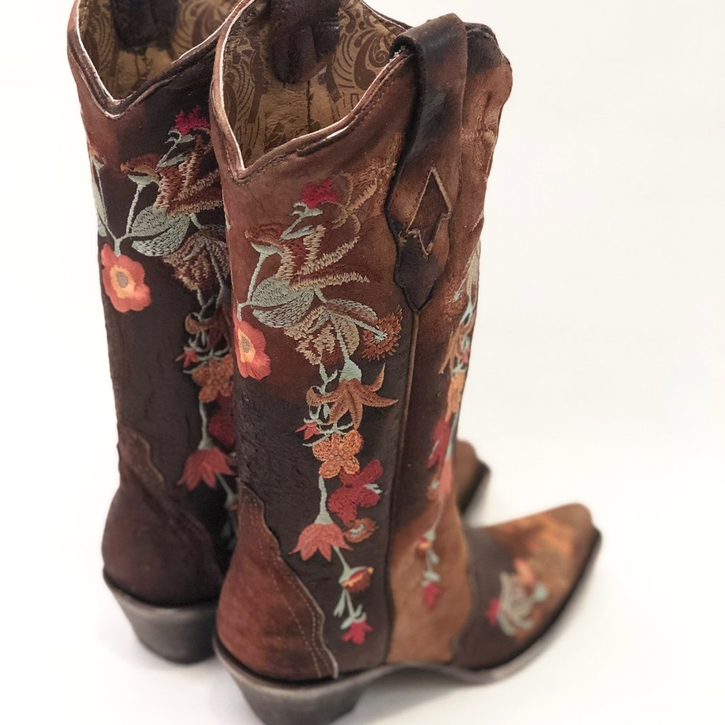 Corral | Floral Embroidered Lamb Leather Boots