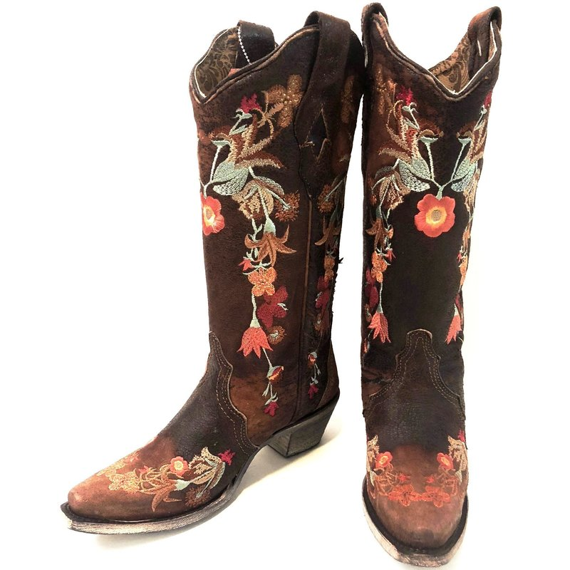 Floral Embroidered Lamb Leather Boots