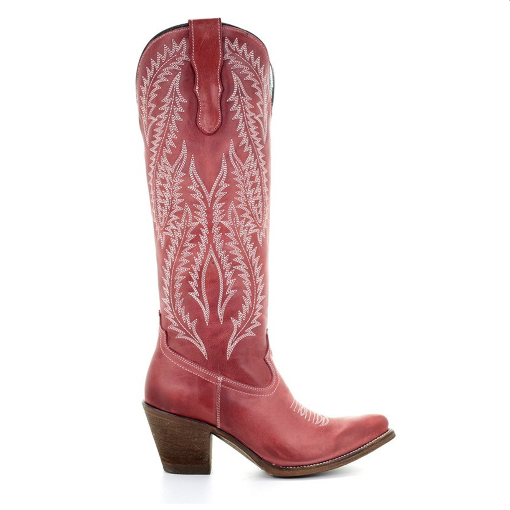 Red Tall Corral Boots w/ Embroidery