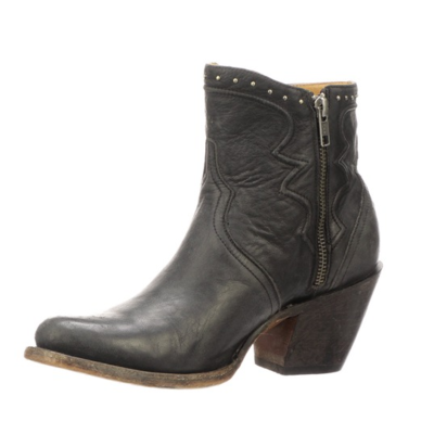 Lucchese Lucchese Black Distressed Studded Bootie