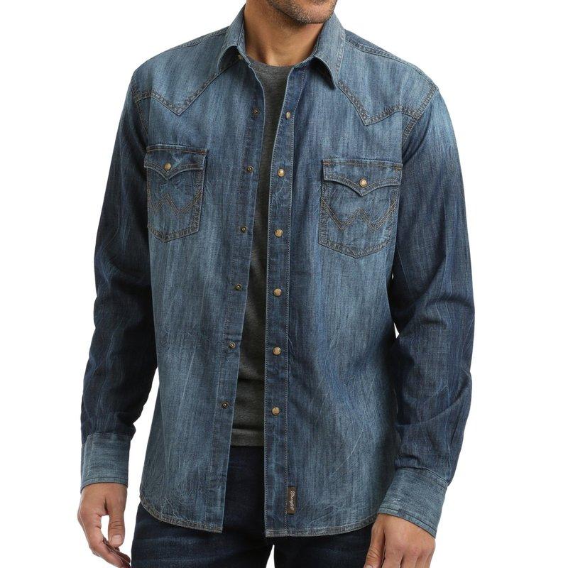 Wrangler | Blue Denim Snap Shirt