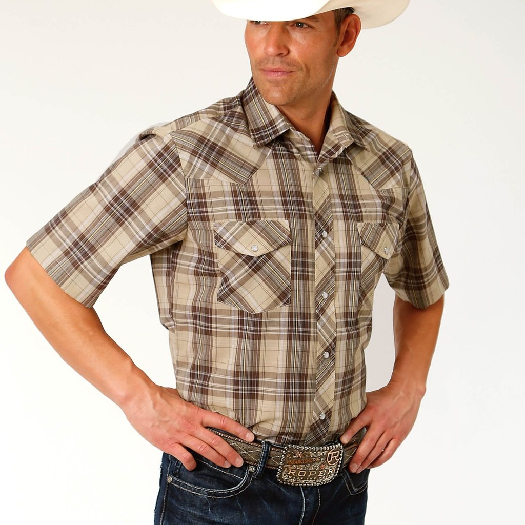 Brown + Tan Plaid Shirt