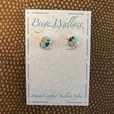 Inlay Oval Stud Earrings