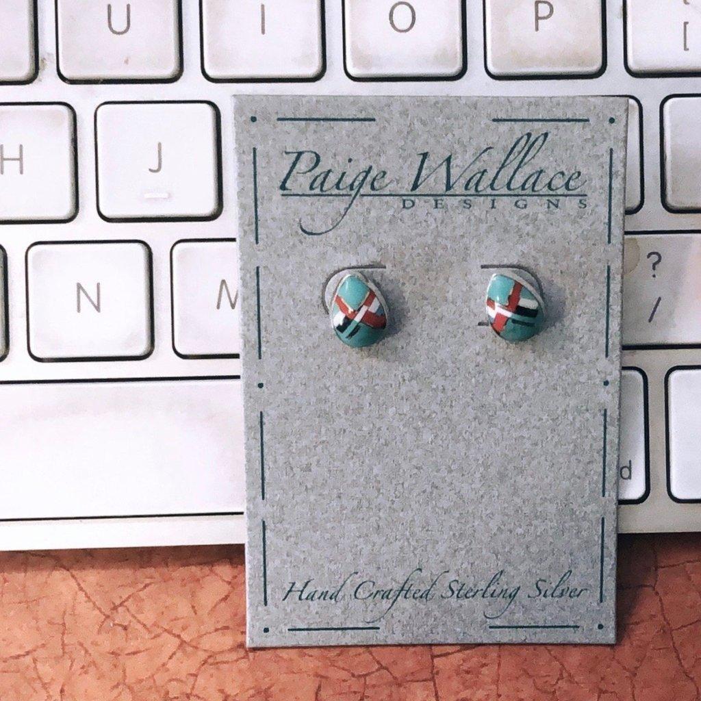 Paige Wallace Inlay Stud Earrings - Tear