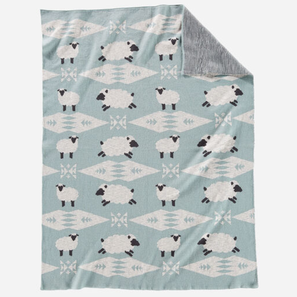 Pendleton Knit Baby Blanket with Beanie in Sheep Dreams