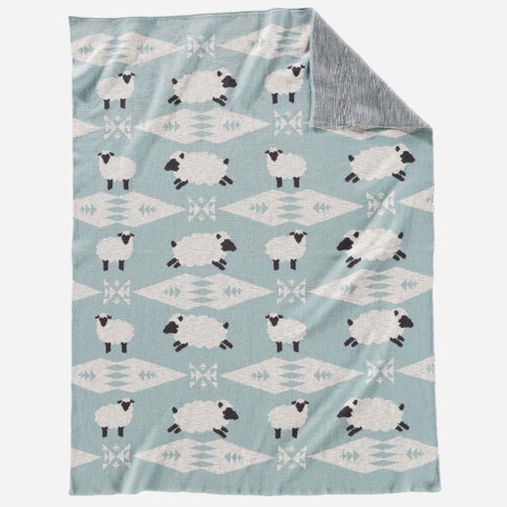 Pendleton Pendleton | Knit Baby Blanket with Beanie | Sheep Dreams