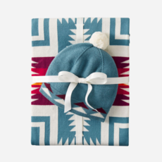 Pendleton Knit Baby Blanket with Beanie in Harding Teal