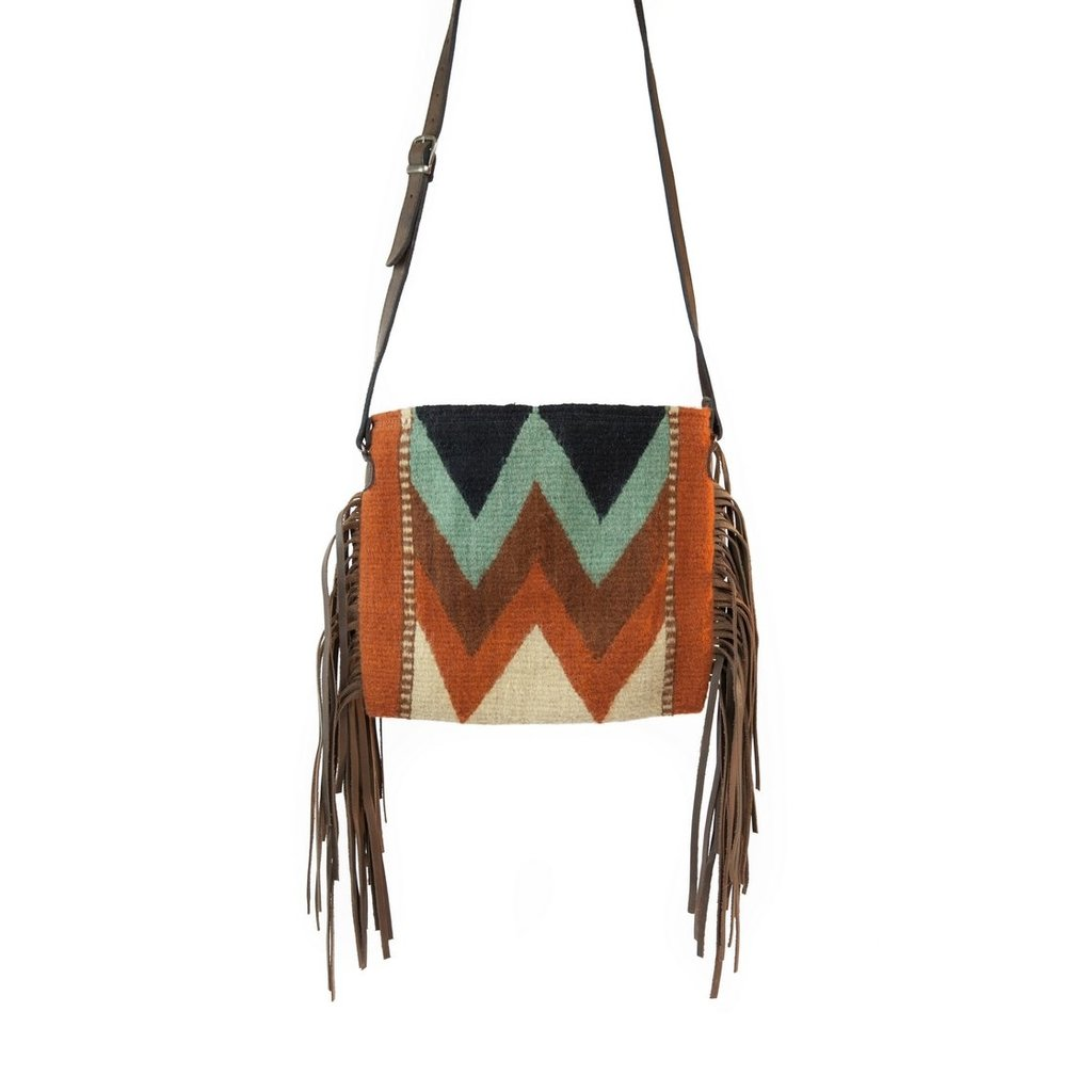 Manos Zapotecas Mountain Chevrons Fringe Bag