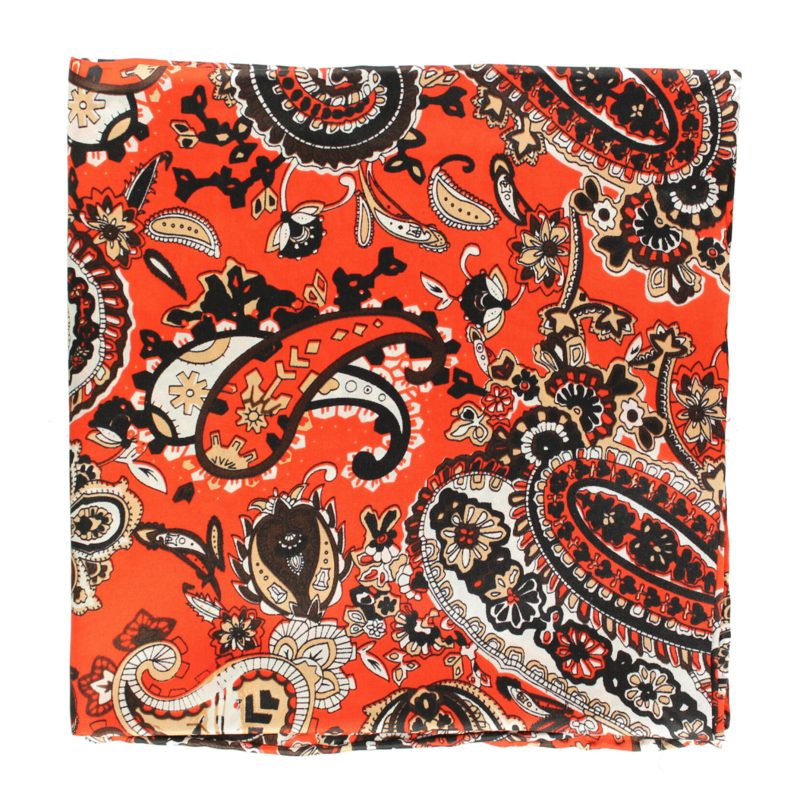 M&F Western | Orange Paisley Silk Scarf