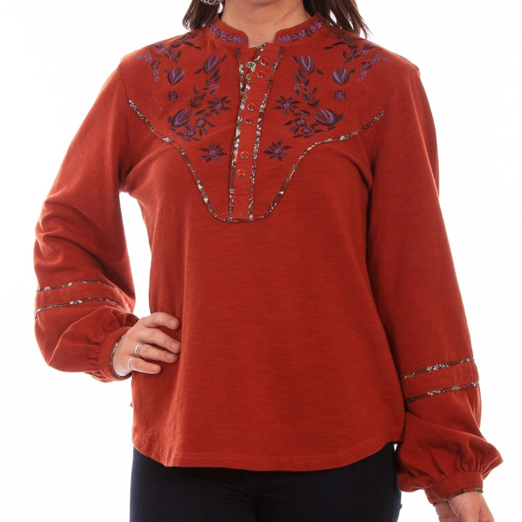 Embroidered Yoke Blouse