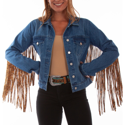 Scully | Leopard Fringe Denim Jacket