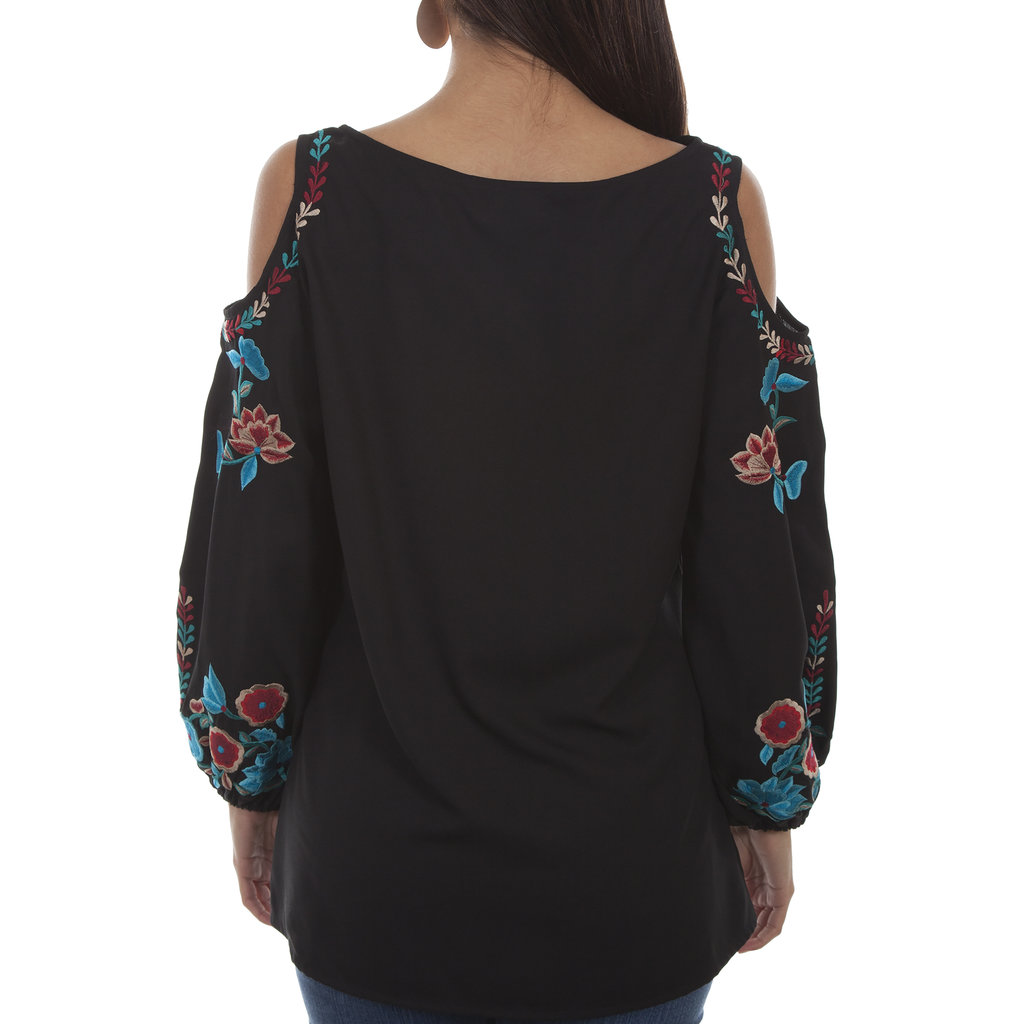 Embroidered Cold Shoulder Tunic