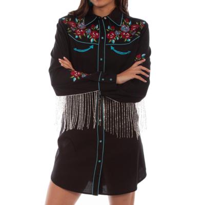 Emb Beaded Fringe Shirt Dress