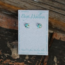 Paige Wallace Inlay Stud Earrings - Round
