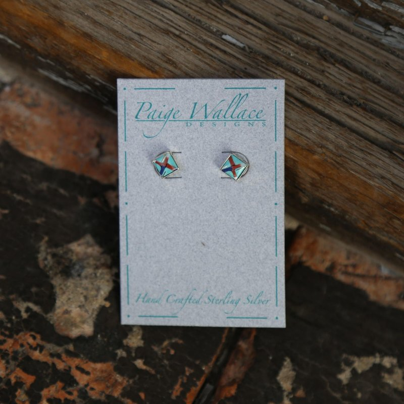 Paige Wallace | Inlay Stud Earrings - Square