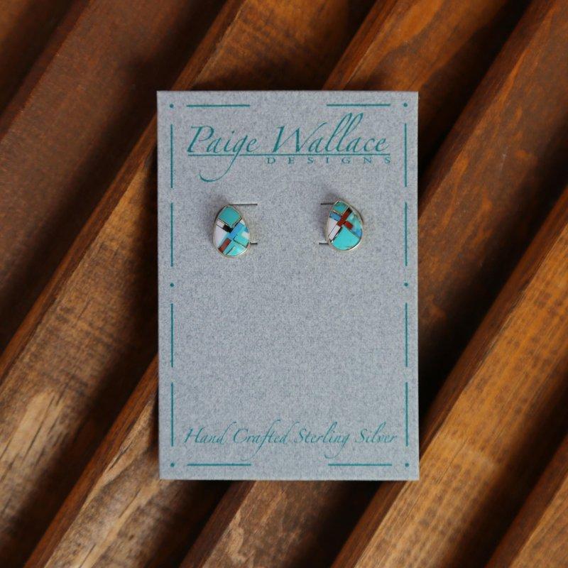 Paige Wallace | Inlay Stud Earrings - Tear