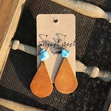 Teardrop Leather Earrings w Turquoise