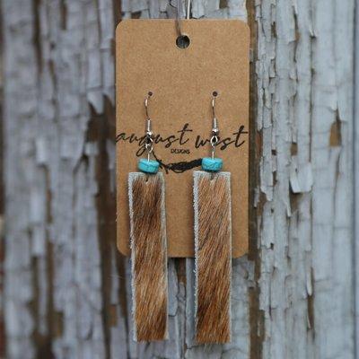 Light Brown Cowhide Dangle Earrings w Turquoise
