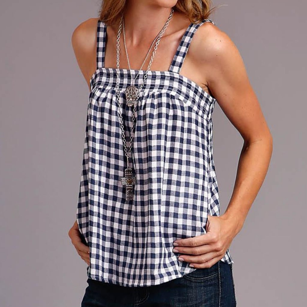 Navy/Wh Gingham S/L Cami Top