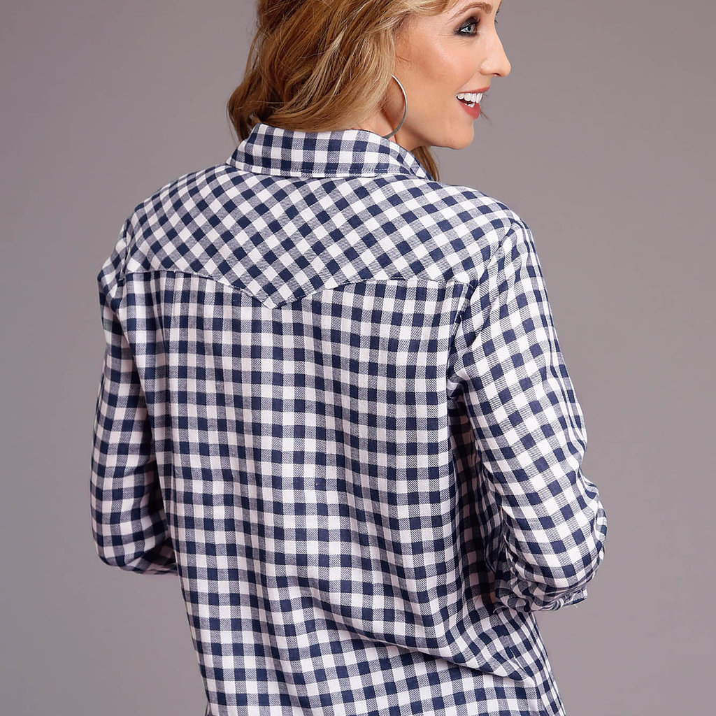 Navy/Wh Gingham L/S Shirt