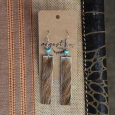 Brown Cowhide Dangle Earrings w Turquoise