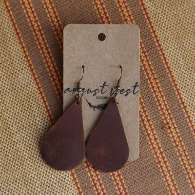Large Teardrop Leather Earrings
