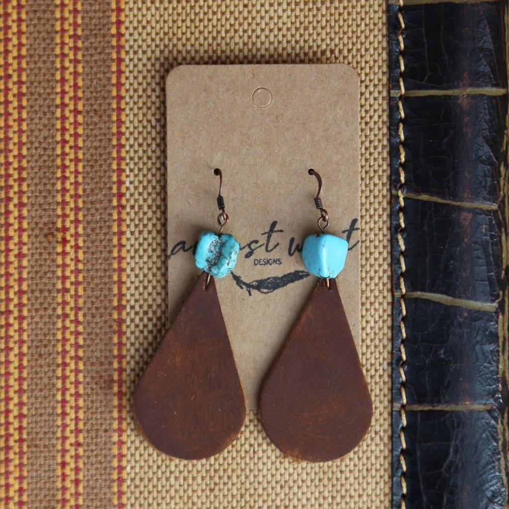 Teardrop Dark Leather Earrings w Turquoise