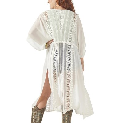 Tie Front Lace Inset Duster