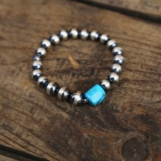 Chelsea Collette   Sterling Pearl Stretch Bracelet