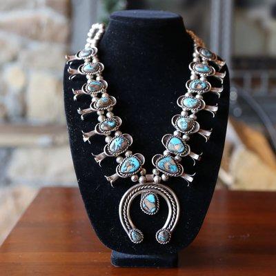Pilot Mountain Turquoise Squash Blossom Necklace