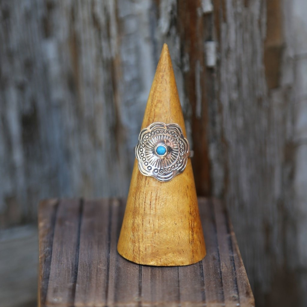 Sterling   Turquoise Concho Ring   Size 6,7,8,9