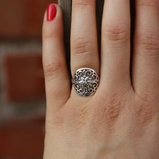 Sterling | Floral Stamp Ring | Size 6, 7