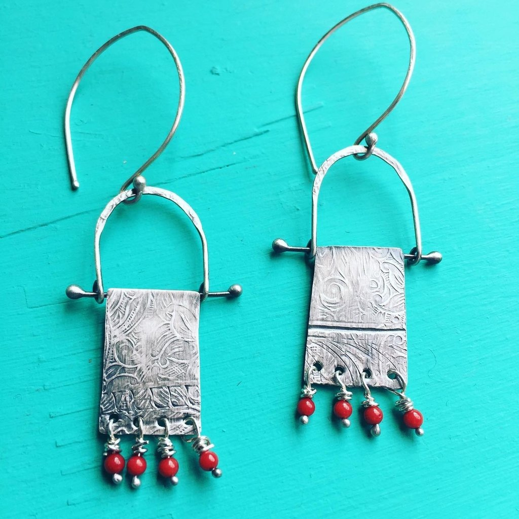 Cynthia Out West | Red Coral Tapestry Earrings