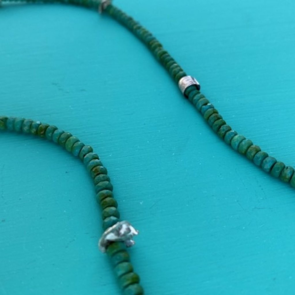 """Long Faceted Green Turq Necklace 36"""""""