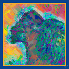Impressionistic Photography | Electric Bison Square Silk Scarf