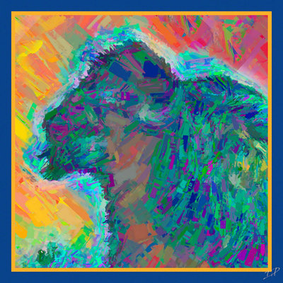 Impressionistic Photography Electric Bison Square Scarf