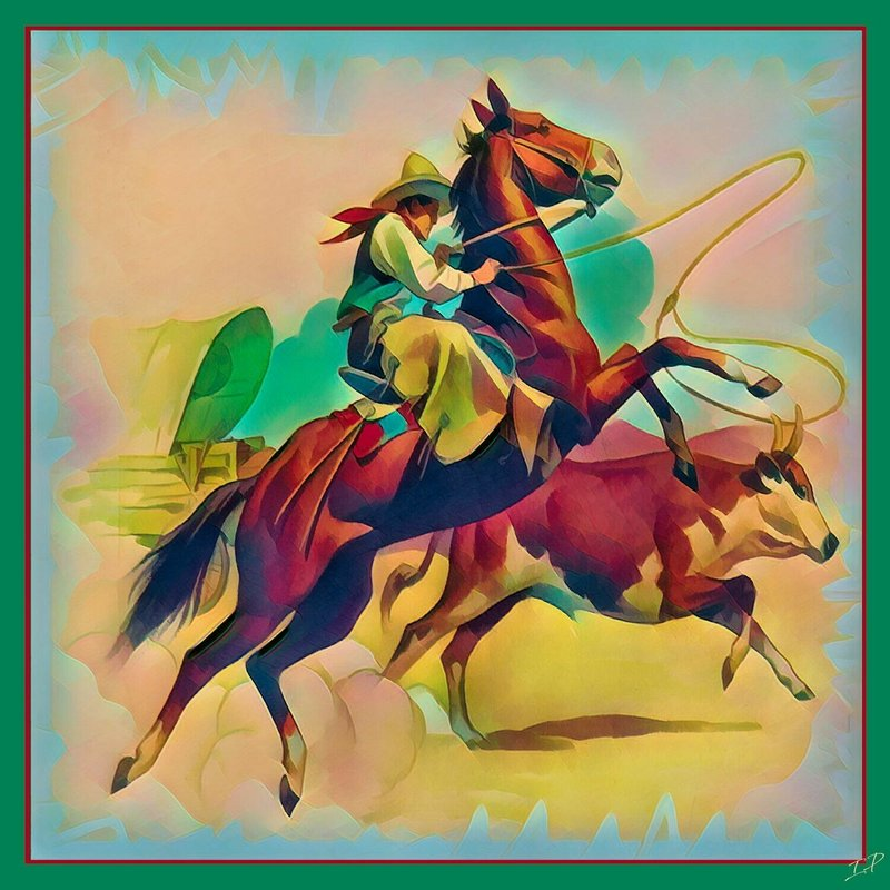 Impressionistic Photography | Steer Roping Silk Scarf