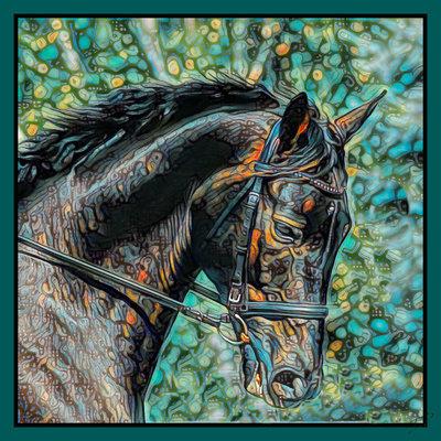 Impressionistic Photography Equestrian Square Scarf