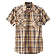 Pendleton Frontier Shirt - Short-Sleeve in Blue/Gold Plaid