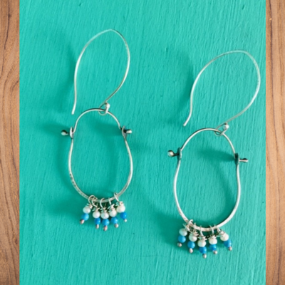 Stirrup Pearl & Turq Earrings